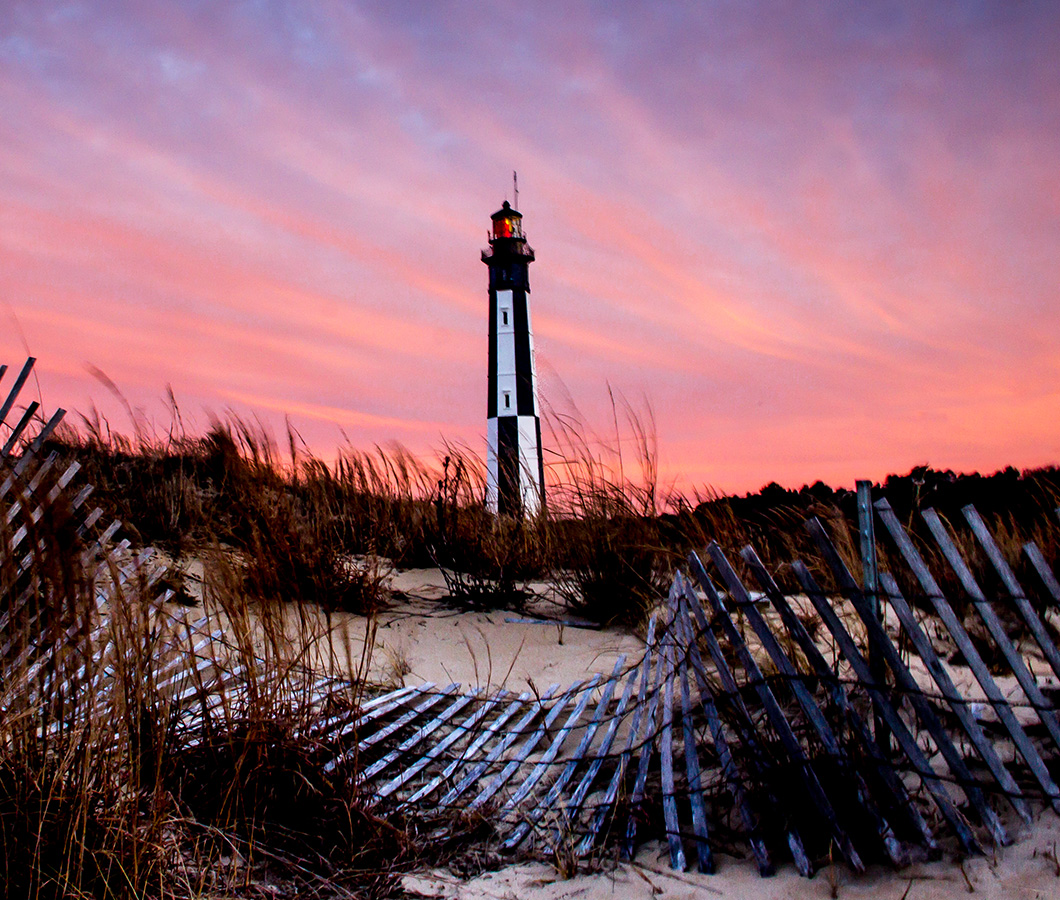 Sunset at the Cape Henry Lighthouse in Virginia Beach, Virginia